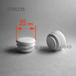 Round ribbed insert for tubes diam. 35 mm WHITE plastic - Ajile