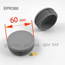 Round ribbed insert for tubes diam. 60 mm GREY plastic - Ajile 4