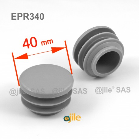 Round ribbed insert for tubes diam. 40 mm GREY plastic - Ajile