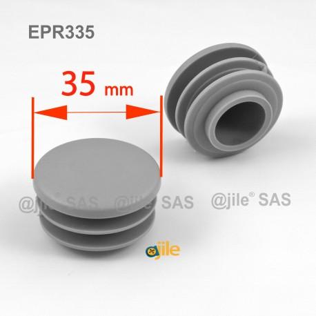 Embout rond à ailettes diam. 35 mm Plastique GRIS - Ajile
