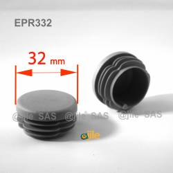 Round ribbed insert for tubes diam. 32 mm GREY plastic - Ajile