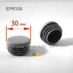 Embout rond à ailettes diam. 30 mm Plastique GRIS