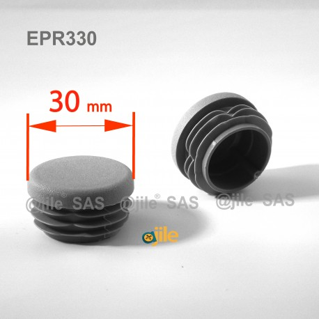 Round ribbed insert for tubes diam. 30 mm GREY plastic - Ajile