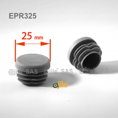 Round ribbed insert for tubes diam. 25 mm GREY plastic - Ajile