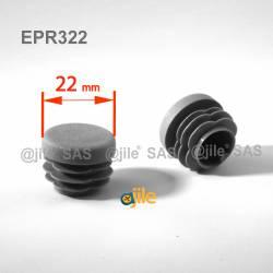 Embout rond à ailettes diam. 22 mm Plastique GRIS