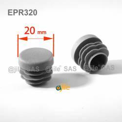 Embout rond à ailettes diam. 20 mm Plastique GRIS