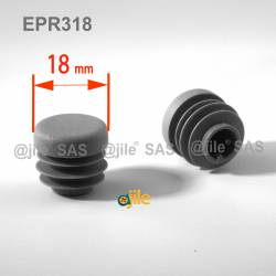 Round ribbed insert for tubes diam. 18 mm GREY plastic - Ajile 3