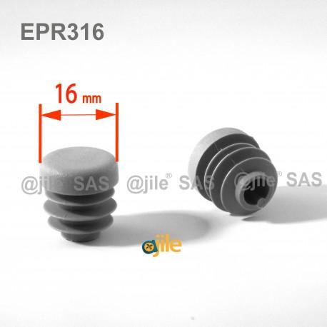 Embout rond à ailettes diam. 16 mm Plastique GRIS - Ajile