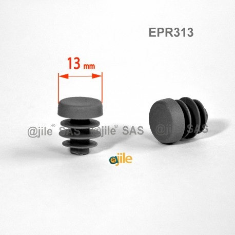Round ribbed insert for tubes diam. 13 mm GREY plastic - Ajile