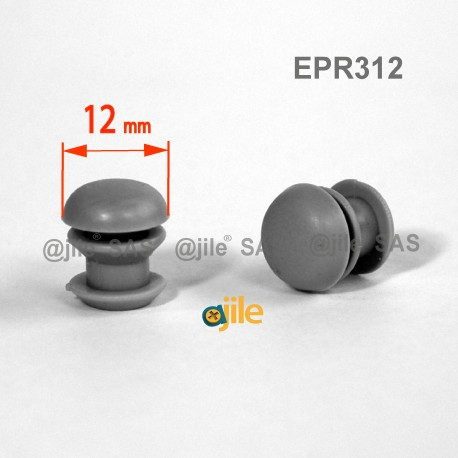 Round ribbed insert for tubes diam. 12 mm GREY plastic - Ajile