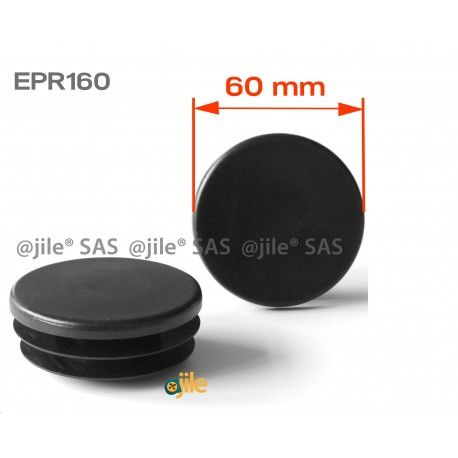Round ribbed insert for tubes diam. 60 mm BLACK plastic - Ajile