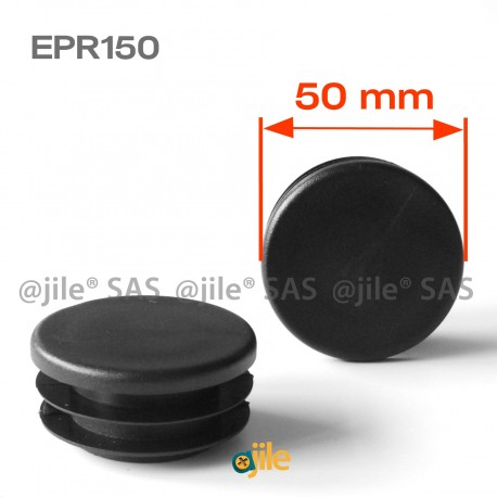 Round ribbed insert for tubes diam. 50 mm BLACK plastic - Ajile