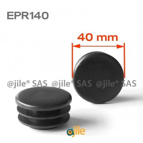Round ribbed insert for tubes diam. 40 mm BLACK plastic - Ajile