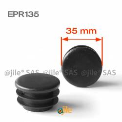 Round ribbed insert for tubes diam. 35 mm BLACK plastic - Ajile
