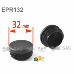 Round ribbed insert for tubes diam. 32 mm BLACK plastic - Ajile