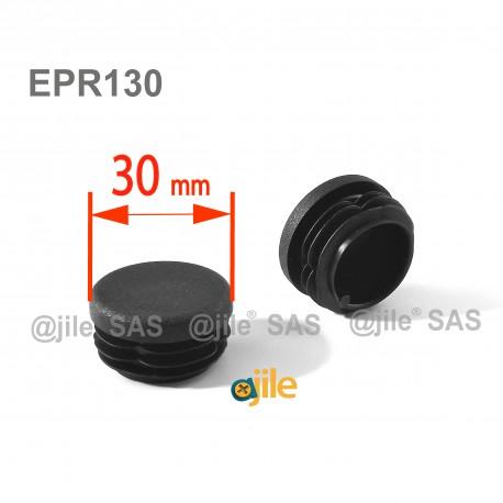 Round ribbed insert for tubes diam. 30 mm BLACK plastic - Ajile