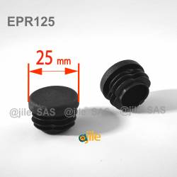 Round ribbed insert for tubes diam. 25 mm BLACK plastic - Ajile