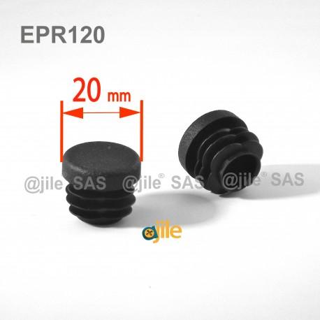 20 mm Diam. Lamellen-Stopfen für Rundrohre 20 mm Aussendiameter - SCHWARZ - Ajile