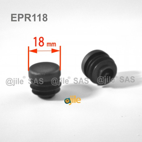 Round ribbed insert for tubes diam. 18 mm BLACK plastic - Ajile