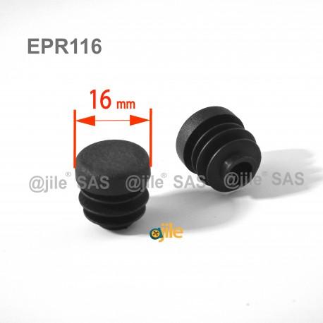 16 mm Diam. Lamellen-Stopfen für Rundrohre 16 mm Aussendiameter - SCHWARZ - Ajile
