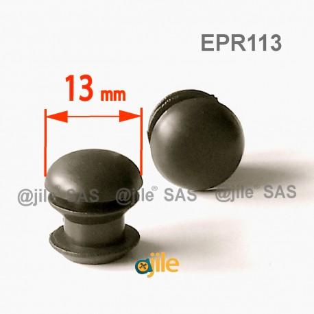 Round ribbed insert for tubes diam. 13 mm BLACK plastic - Ajile