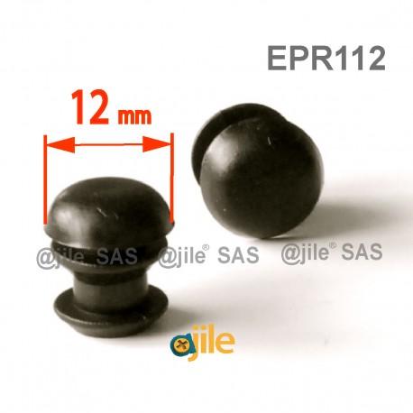 Round ribbed insert for tubes diam. 12 mm BLACK plastic - Ajile