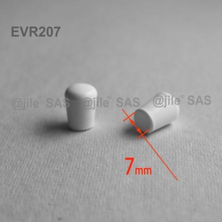 7 mm Diam. Kunststoff Kappen für Rundrohr 7 mm Aussendiameter - WEISS - Ajile