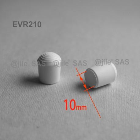 Puntale calzante diam. 10 mm di plastica per tubo 10 mm diam. esteriore - BIANCO - Ajile