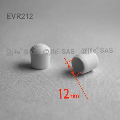 12 mm Diam. Kunststoff Kappen für Rundrohr 12 mm Aussendiameter - WEISS - Ajile