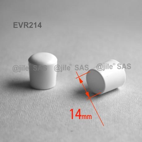 14 mm Diam. Kunststoff Kappen für Rundrohr 14 mm Aussendiameter - WEISS - Ajile