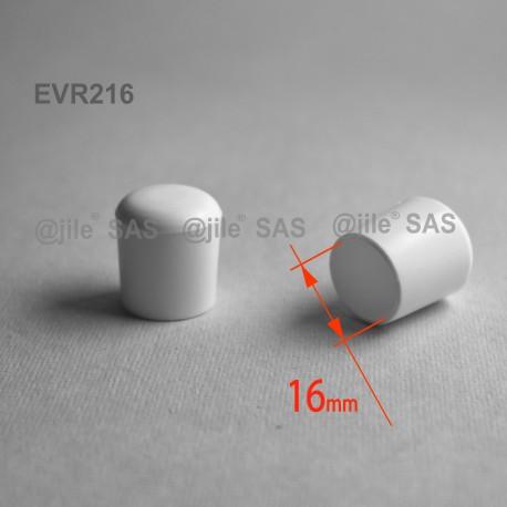 16 mm Diam. Kunststoff Kappen für Rundrohr 16 mm Aussendiameter - WEISS - Ajile