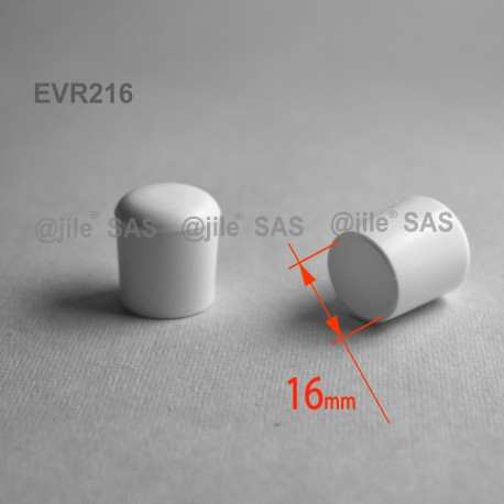 Embout enveloppant rond diam. 16 mm Plastique BLANC - Ajile