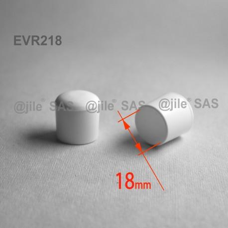 18 mm Diam. Kunststoff Kappen für Rundrohr 18 mm Aussendiameter - WEISS - Ajile
