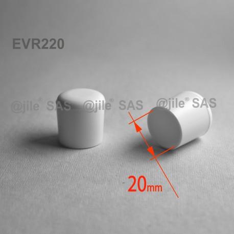 20 mm Diam. Kunststoff Kappen für Rundrohr 20 mm Aussendiameter - WEISS - Ajile