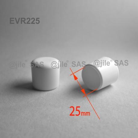 25 mm Diam. Kunststoff Kappen für Rundrohr 25 mm Aussendiameter - WEISS - Ajile
