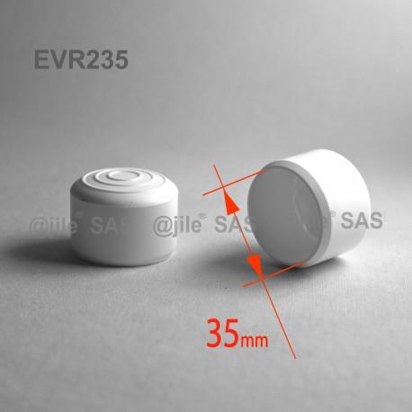35 mm Diam. Kunststoff Kappen für Rundrohr 35 mm Aussendiameter - WEISS - Ajile