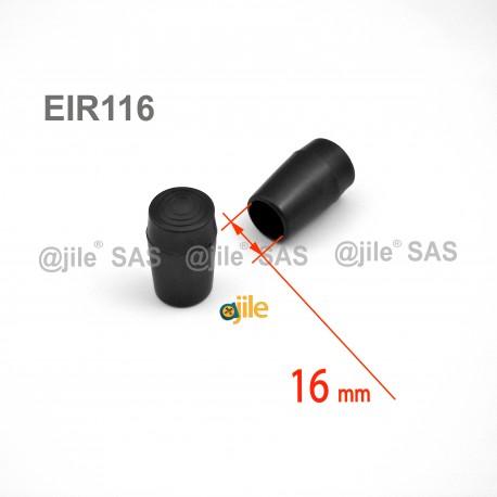 Embout enveloppant rond diamètre 16 mm pour usage intensif NOIR - Ajile