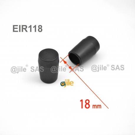 Embout enveloppant rond diamètre 18 mm pour usage intensif NOIR - Ajile