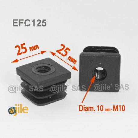 Embout plastique carré pour tube 25 x 25 mm avec trou fileté diam. 10 mm (M10) - Ajile