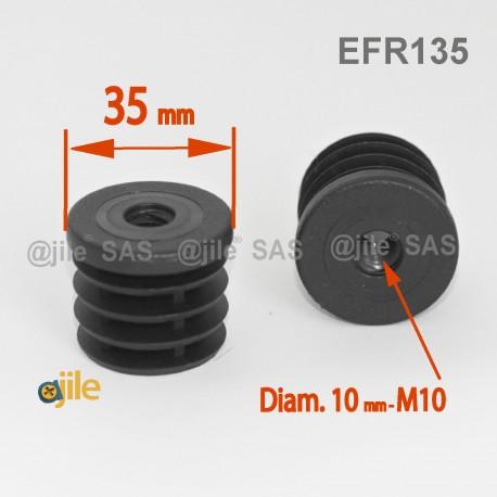 Embout plastique rond pour tube de diamètre 35 mm avec trou fileté diam. 10 mm (M10) - Ajile