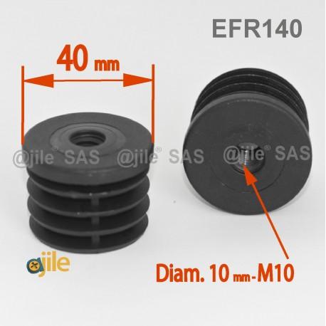 Embout plastique rond pour tube de diamètre 40 mm avec trou fileté diam. 10 mm (M10) - Ajile