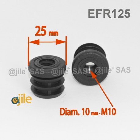 Diam. 25 mm M10 threaded ribbed insert for 25 mm outer diameter tube - BLACK - threaded-round-insert - ajile