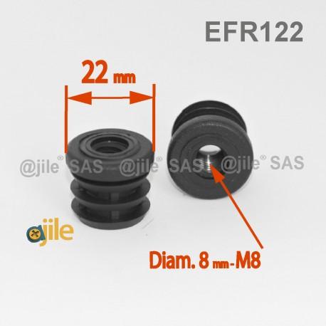 M8 Fussstopfen 22 mm Diam. für Rundrohr 22 mm Aussendiam. mit Gewindeloch - SCHWARZ - Ajile