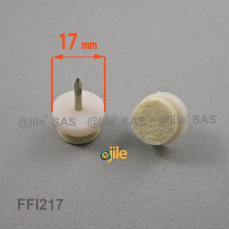 17 mm diam. Robuster Nagelgleiter mit umspriztem Wollfilz- WEISS - Ajile