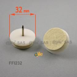 Sottosedia diam. 32 mm con feltro molto resistente rotondo di plastica con chiodo - BIANCO - Ajile