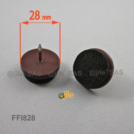Sottosedia diam. 28 mm con feltro molto resistente rotondo di plastica con chiodo - MARRONE - Ajile