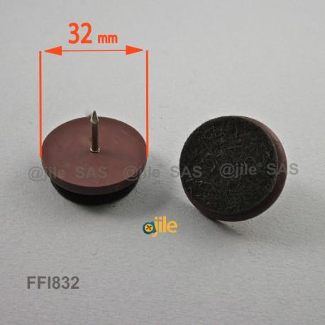 Patin Feutre diam. 32 mm Usage Intensif - Plastique BRUN et Feutre GRIS - À clouer - Ajile