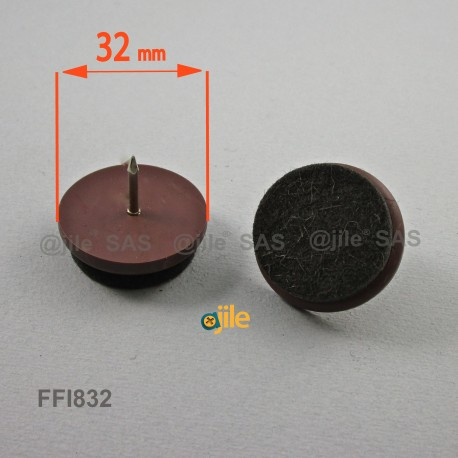 Sottosedia diam. 32 mm con feltro molto resistente rotondo di plastica con chiodo - MARRONE - Ajile