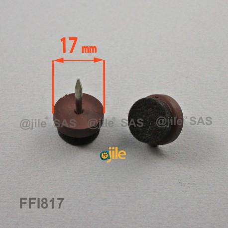 Sottosedia diam. 17 mm con feltro molto resistente rotondo di plastica con chiodo - MARRONE - Ajile