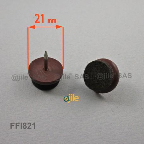Sottosedia diam. 21 mm con feltro molto resistente rotondo di plastica con chiodo - MARRONE - Ajile